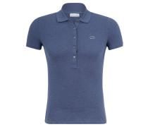 Poloshirt, Slim Fit, meliert, für Damen, Blau