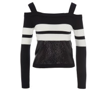 Pullover, Pailletten, zweifarbiges Design, Cut-Outs, Schwarz