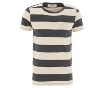 T-Shirt, Blockstreifen, Brusttasche, Baumwolle, Rundhals, Blau