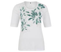 T-Shirt, Baumwolle, Print, Schmucksteine, Weiß