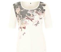 T-Shirt, Blumen-Print, hablange Ärmel, Weiß