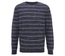Pullover, gestreift, Rundhals, Materialmix, Blau