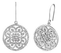 Ohrhänger Ornament mitZirkonia Silber rhodiniert 20mm ERE-ORNA-01-ZI