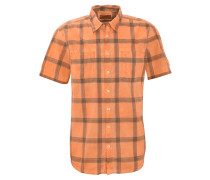 Freizeithemd, kariert, Brusttaschen, Orange