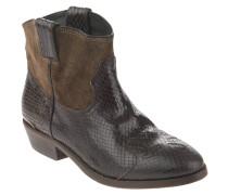 Stiefeletten, Reptilien-Look, Leder, Country-Stil, Braun
