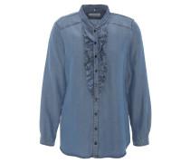 Bluse, Jeans-Optik, Stehkragen, Rüschen, Blau