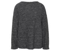 Pullover, Feinstrick, gerader Ausschnitt, Materialmix, Schwarz