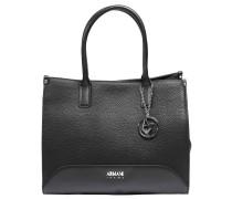 Handtasche, Lederimitat, Anhänger, Emblem, Schwarz