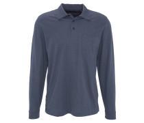 Poloshirt, Langarm, Brusttasche, Blau