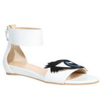 Sandalen, Keilabsatz, Augen-Design, Weiß