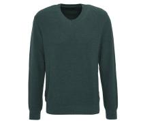 Pullover, Strick, meliert, V-Ausschnitt, Grün