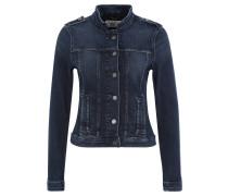 Jeansjacke, Used-Optik, tailliert, Schulterriegel, Blau