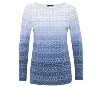 Langarmshirt, Farbverlauf, geometrisches Muster, Blau