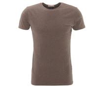 T-Shirt, meliert, Baumwoll-Mix, Braun