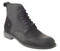 Stiefel, Leder, Materialmix, Schnürung, Schwarz