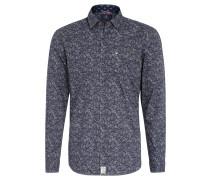 Freizeithemd, Regular Fit, Allover-Print, Brusttasche, Blau