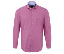 Freizeithemd, Rauten-Muster, Brusttasche, reine Baumwolle, Rot