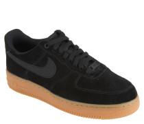 "Sneaker ""Air Force 1"", Veloursleder, Lochmuster, Schwarz"