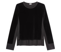 Pullover, Samt-Optik, Rundhals-Ausschnitt, Loose Fit, Schwarz