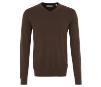 Pullover, Strick, V-Ausschnitt, reine Baumwolle, Braun