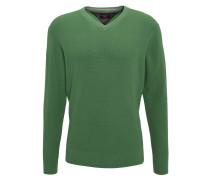 Feinstrickpullover, V-Ausschnitt, meliert, Label Stitching, Grün