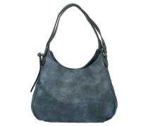 Handtasche, Beutelform, Glattleder-Optik, Blau