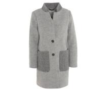 Mantel, Woll-Anteil, Stehkragen, strukturierter Rücken, Grau