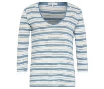 Shirt, Streifen, Metallic Garn, 3/4-Arm, Weiß