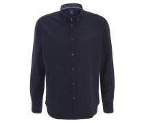 Freizeithemd, meliert, Button-Down-Kragen, Logo-Stickerei, Blau