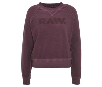 Sweatshirt, Logo-Print, Washed-Out-Effekt, Lila