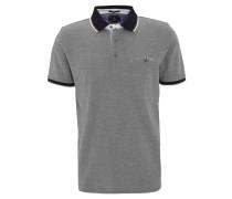 Poloshirt, meliert, Brusttasche, Baumwoll-Piqué, Grau