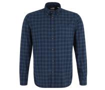 Freizeithemd, Karo-Muster, Baumwolle, Brusttasche, Blau