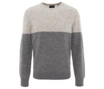 Pullover, Rundhalsausschnitt, Woll-Mix, zweifarbig, Grau