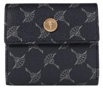 Geldbörse, strukturiertes Lederimitat, ornamentaler Print, Blau