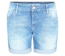 Jeans-Shorts, Used-Look, Five-Pocket-Style, Aufschläge, Blau