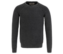 Pullover, Strickmuster, Melange-Optik, Rollsaum, Grau