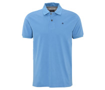 Poloshirt, Piqué, Stickerei, Baumwolle, Blau