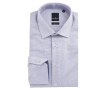 Businesshemd, Modern Fit, gemustert, bügelfrei, Blau