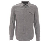 Freizeithemd, reine Baumwolle, Brusttasche, Knopfleiste, Grau