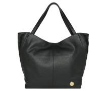 """Handtasche """"Ty-To"""", echtes Leder, eingeschnittene Details, Schwarz"""