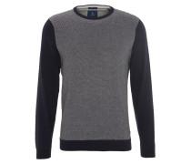 Pullover, Hahnentritt-Muster, Rippbündchen, Baumwoll-Mix, Blau