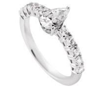 Bridal Ring Tropfen -Zirkonia und seitlichem Steinbesatz platinum plated