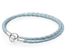 Armband, hellblaues Leder, zweifach gewickelt, 590734CB-D1