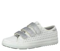 Sneaker, Klettverschluss, Glitzerelemente, Weiß