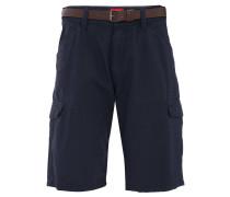 Bermuda-Shorts, Loose Fit, Struktur-Muster, Gürtel, Blau