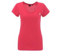 T-Shirt, uni, V-Ausschnitt, kleiner Logo-Print