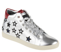 "Sneaker ""Gymea"", Sterne, Metallic-Effekt, Schnürung, Silber"