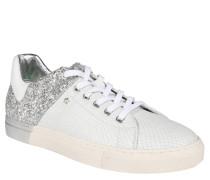 High-Top-Sneaker, Logo-Stitching, umgeklappte Zunge, Silber