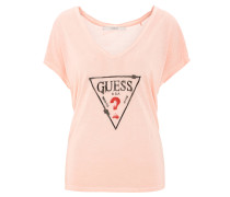 T-Shirt, Marken-Print, Perlen, V-Ausschnitt, Rosa