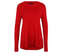 Pullover, verlängerter Rücken, gerippter Bund, Rot